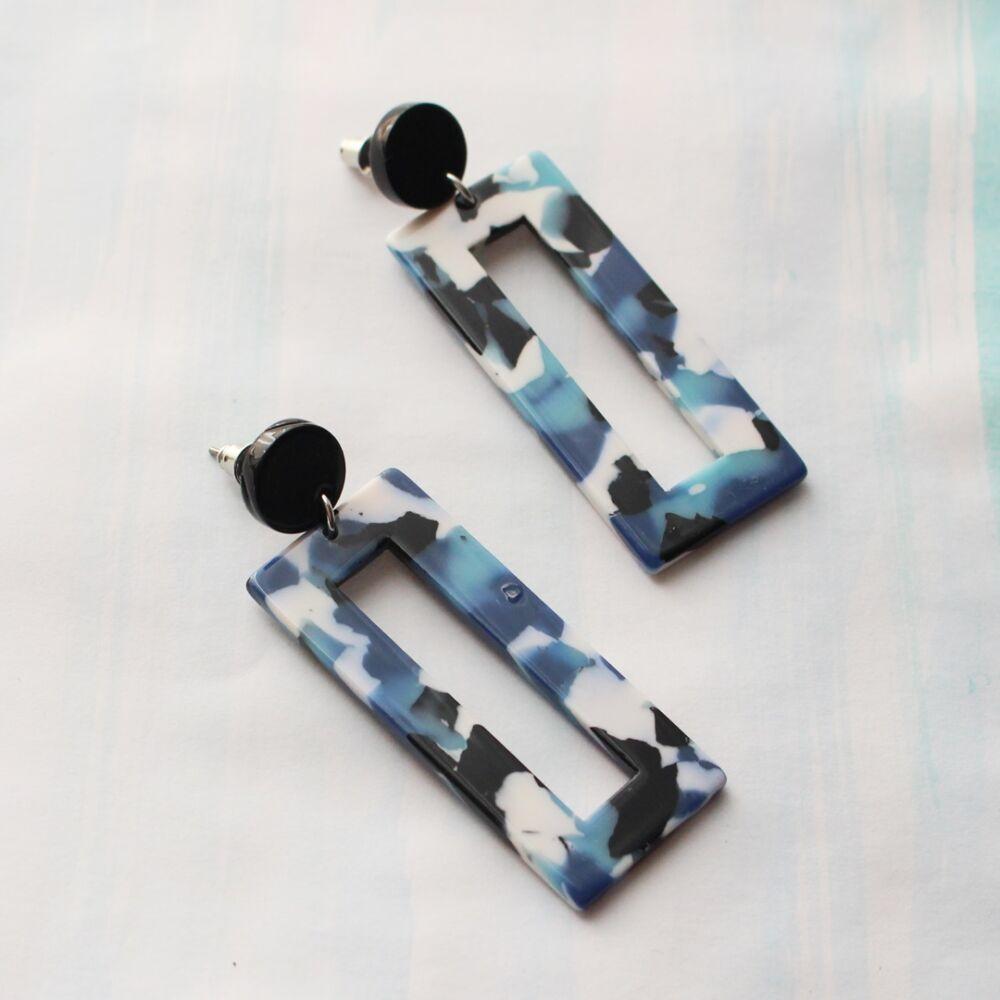 Terrain fülbevaló - kék téglalap
