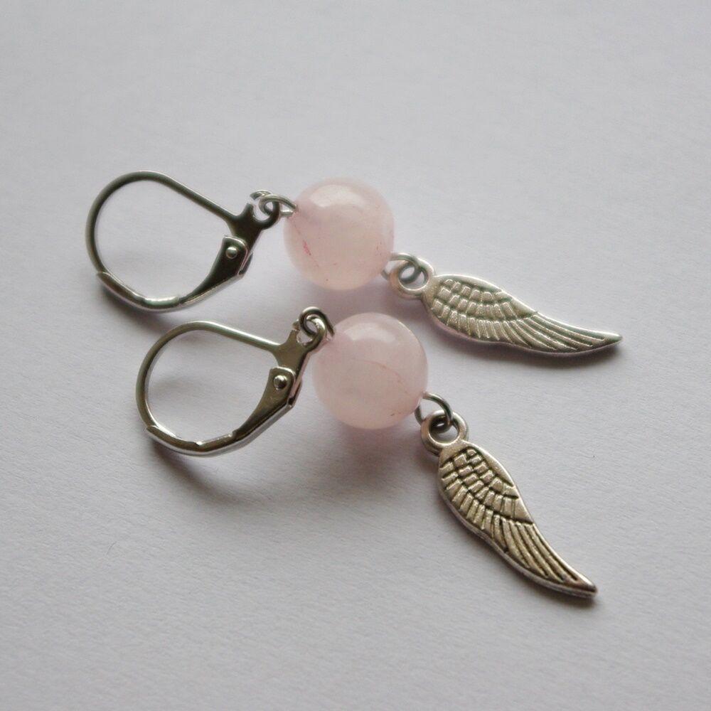 Angyalszárnyas fülbevaló - rózsakvarc