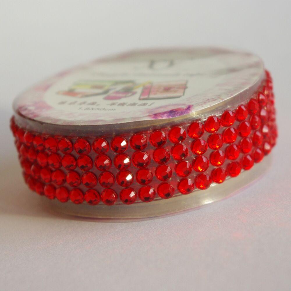 Strasszos ragasztószalag - piros