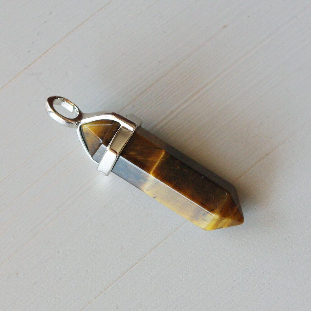 Tigrisszem kristály kétcsúcs medál - ceruza alakú