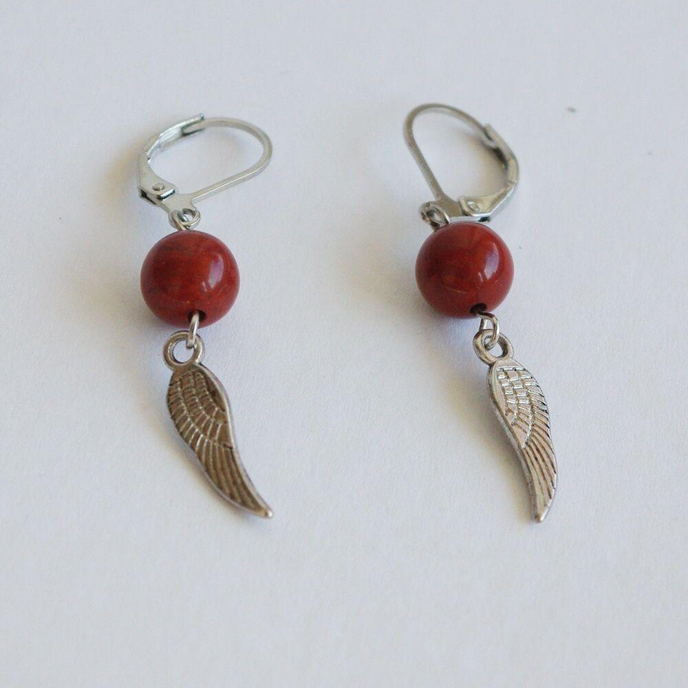 Angyalszárnyas fülbevaló - piros jáspis