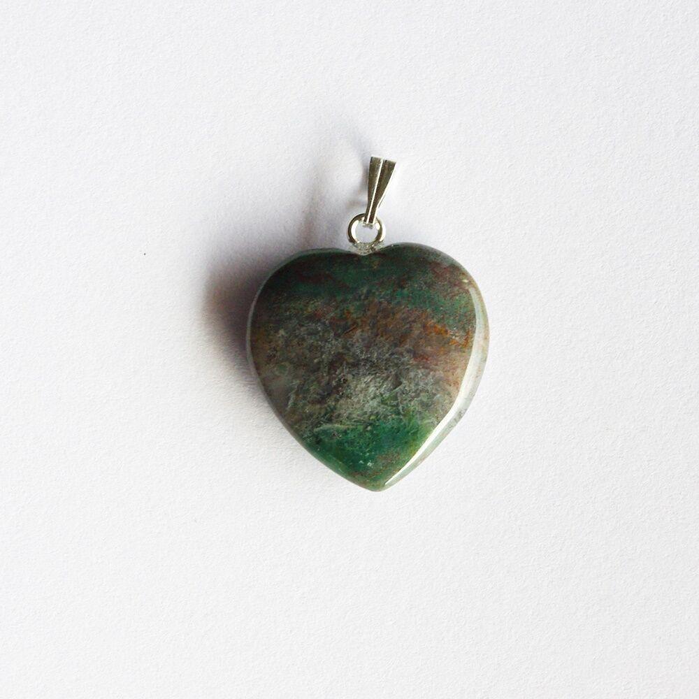 Ásványos szívmedál - mohaachát
