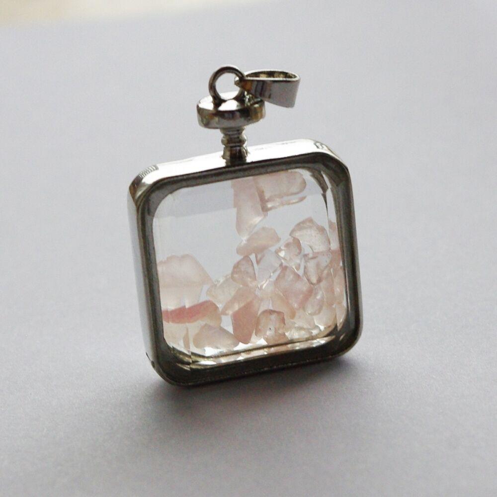 Rózsakvarc amulett üveg