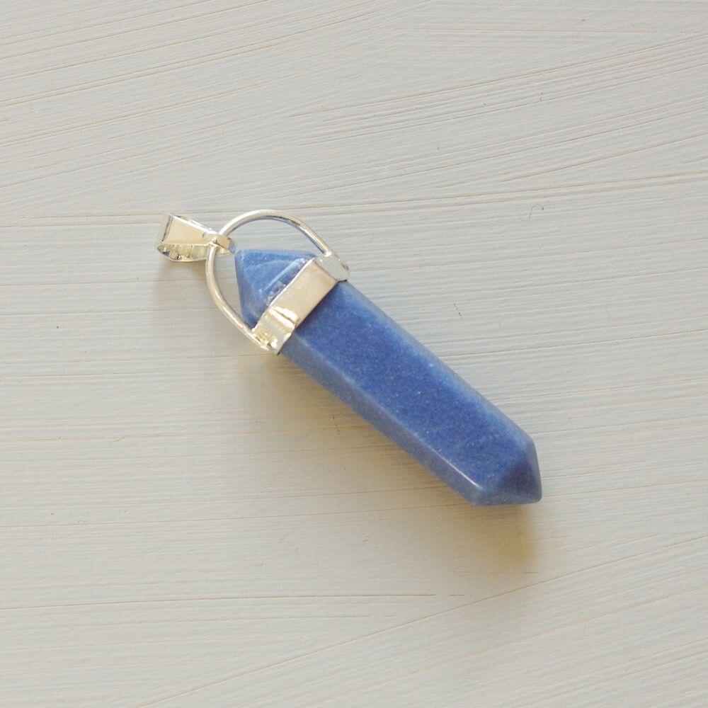 Kék kvarc kristály kétcsúcs medál