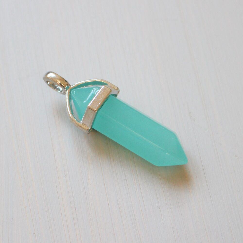 Inga alakú színes üvegmedál - türkiz