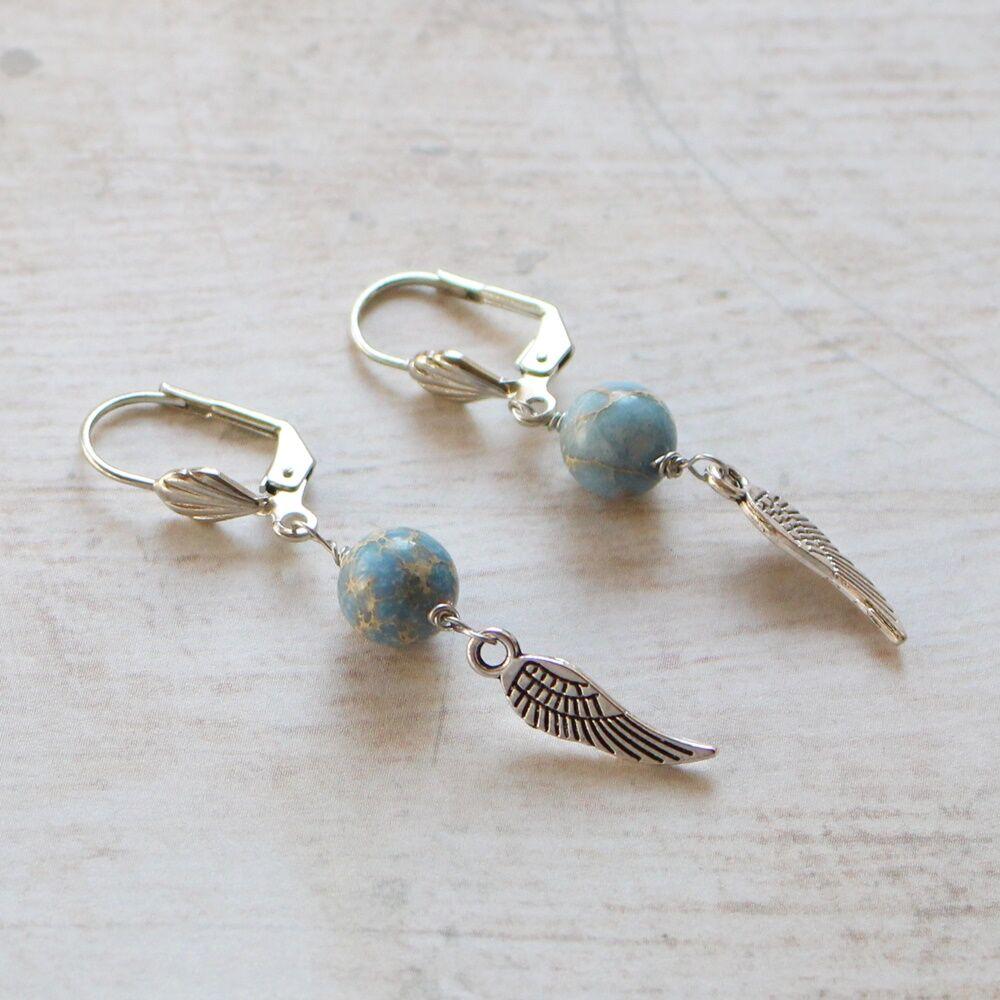 Angyalszárnyas fülbevaló - kék jáspis