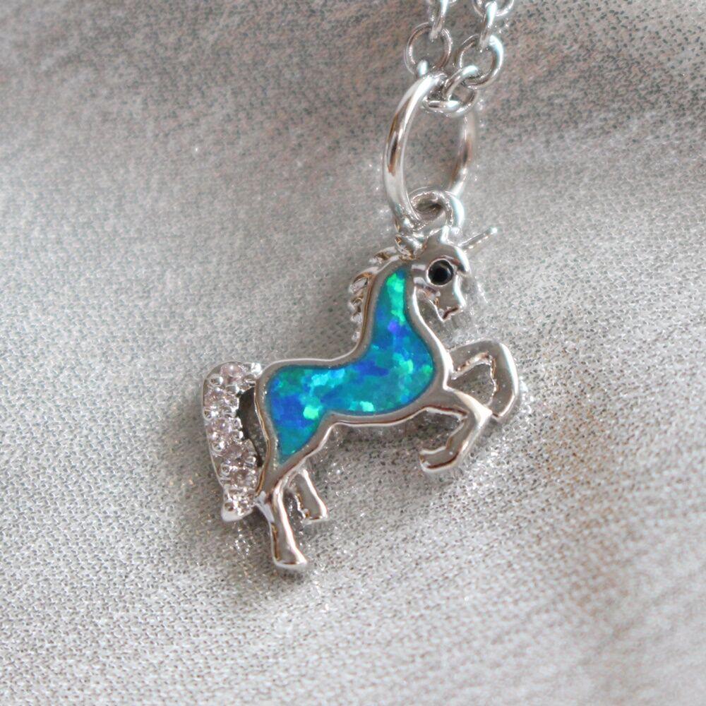 Unikornis nyaklánc - ezüst, kék