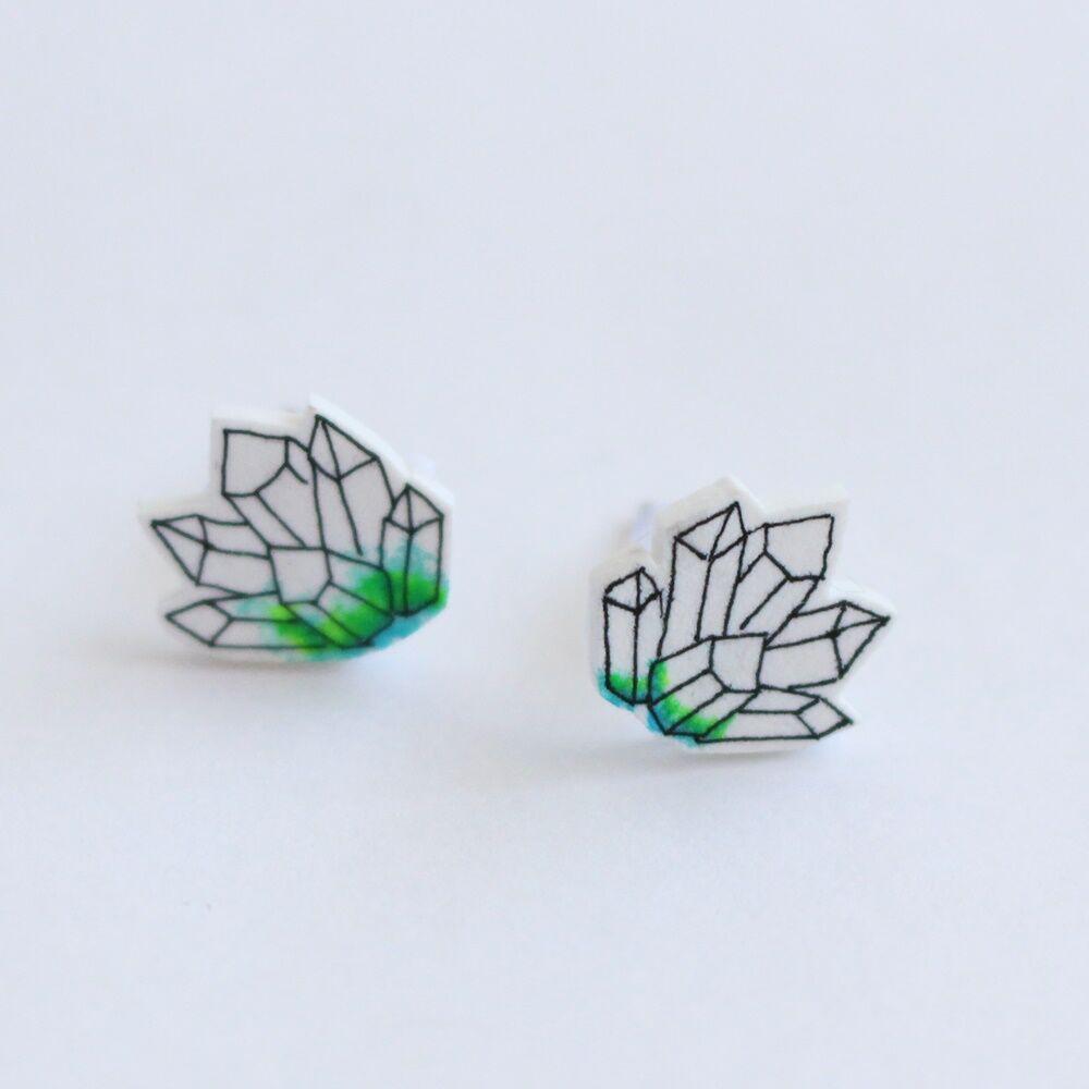 Ásvány alakú fülbevaló - zöld
