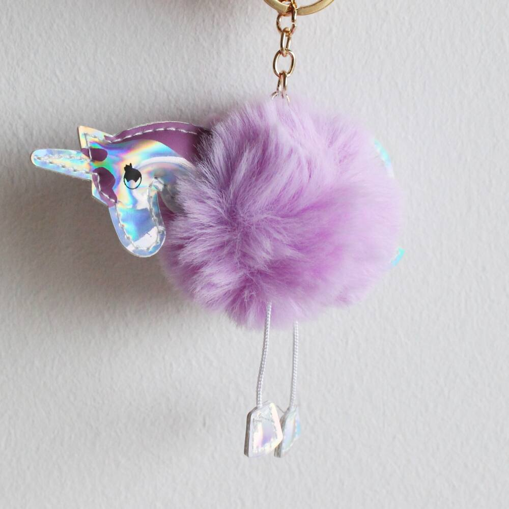 Unikornis kulcstartó táskadísz - orgona lila