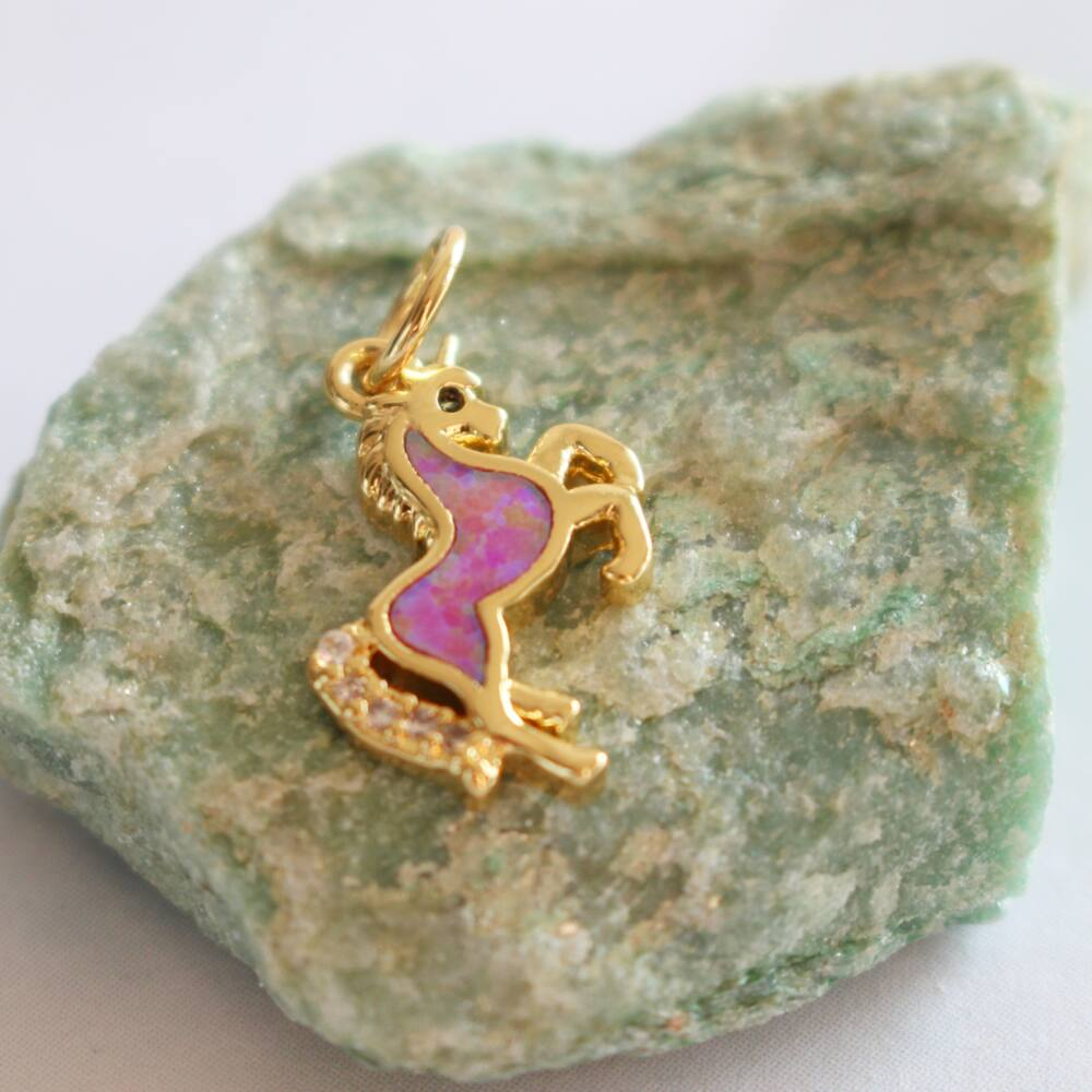 Unikornis nyaklánc - arany, lila