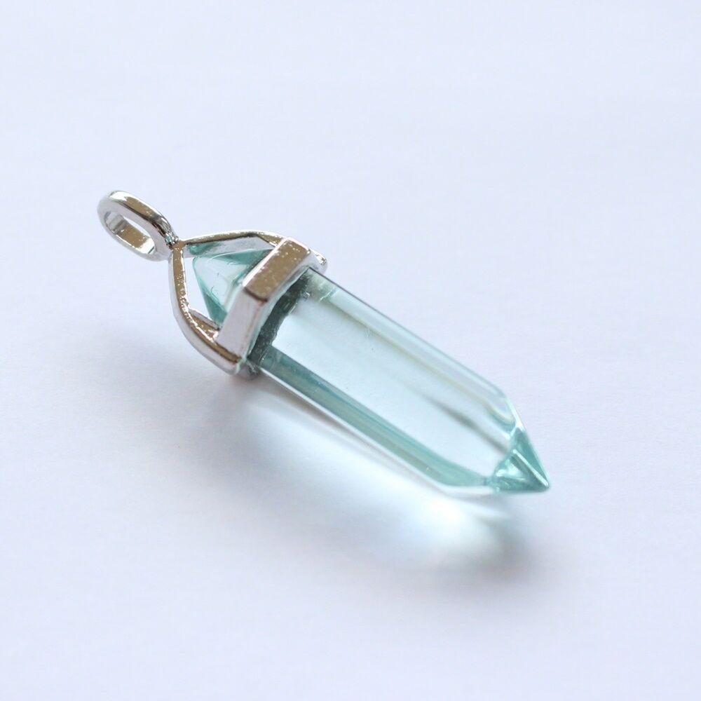Inga alakú színes üvegmedál - menta