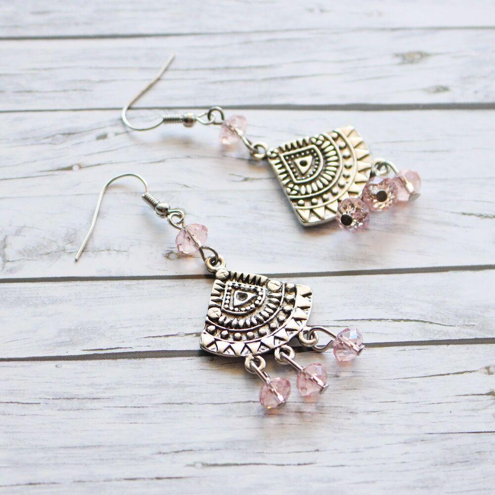 Üveggyöngyös körcikk fülbevaló - rózsaszín