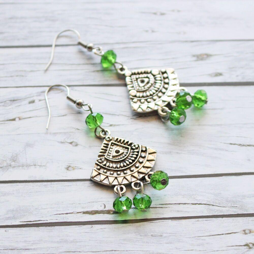 Üveggyöngyös körcikk fülbevaló - zöld