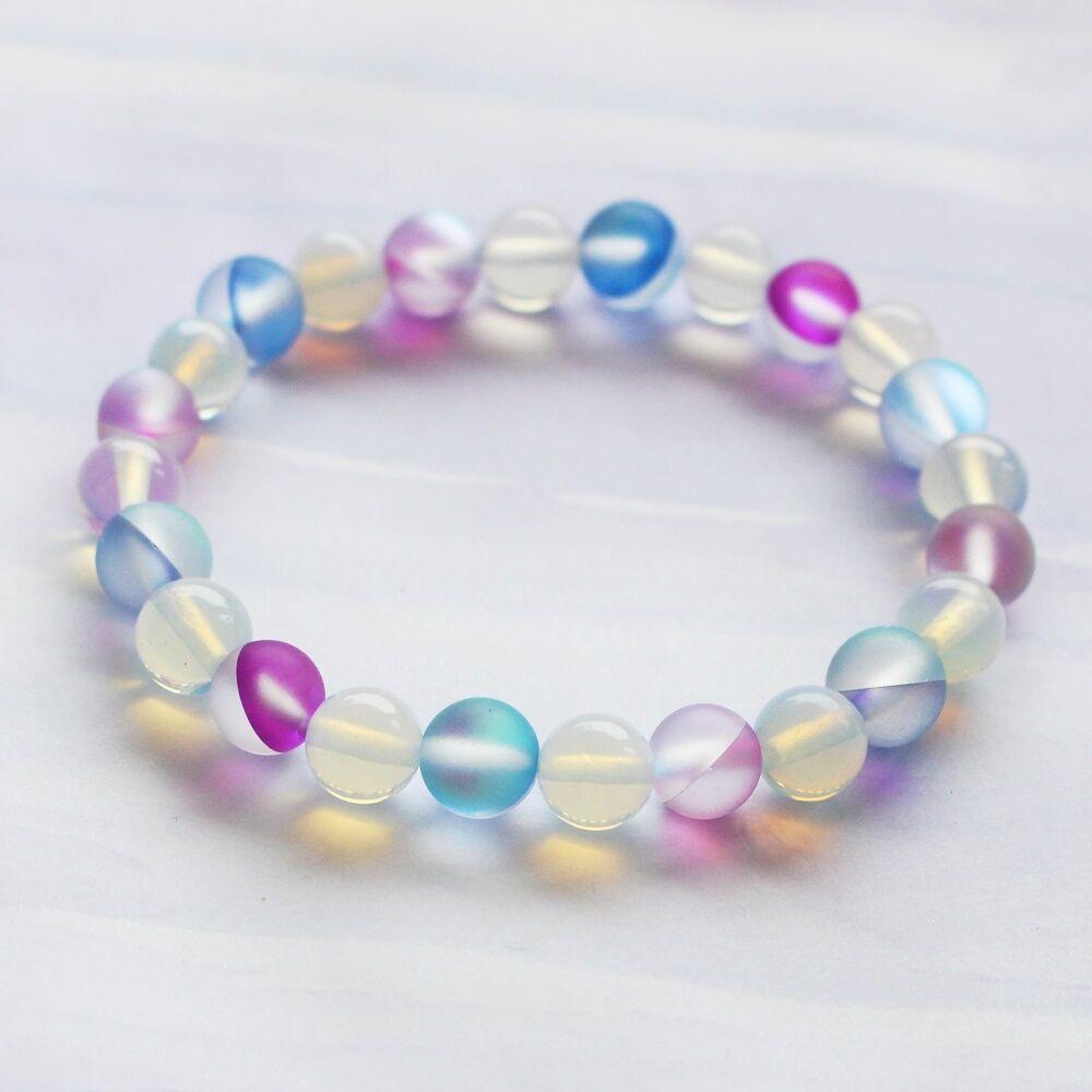 Üveg karkötő pink és kék - 8 mm