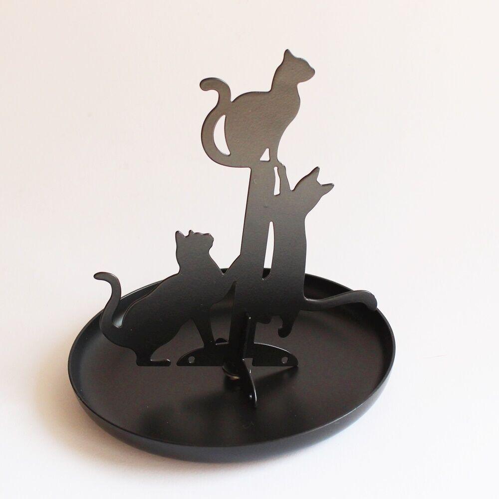Macskás ékszertartó állvány - fekete