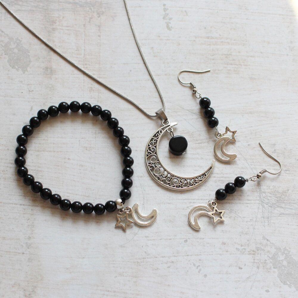 Fekete hold ásványos ajándékcsomag onixszal