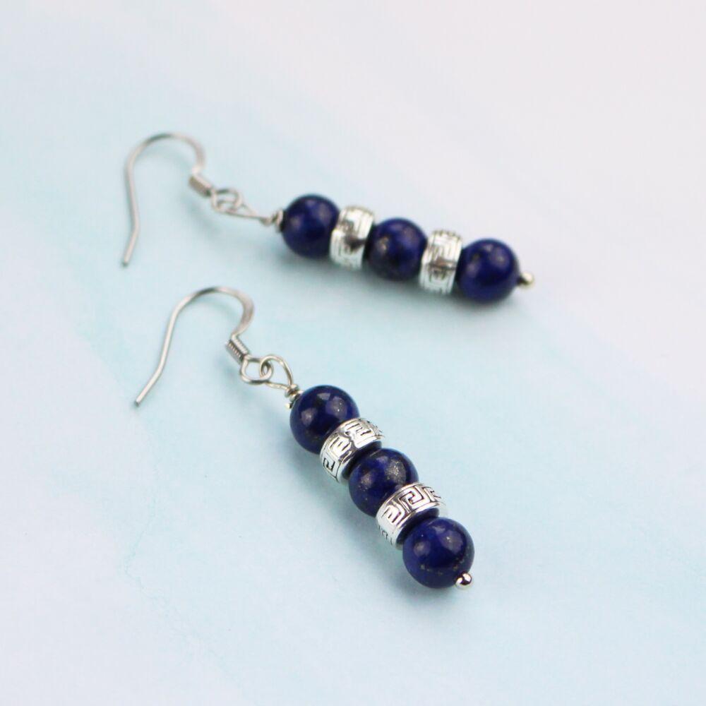 Lapis lazuli gyöngyös fülbevaló