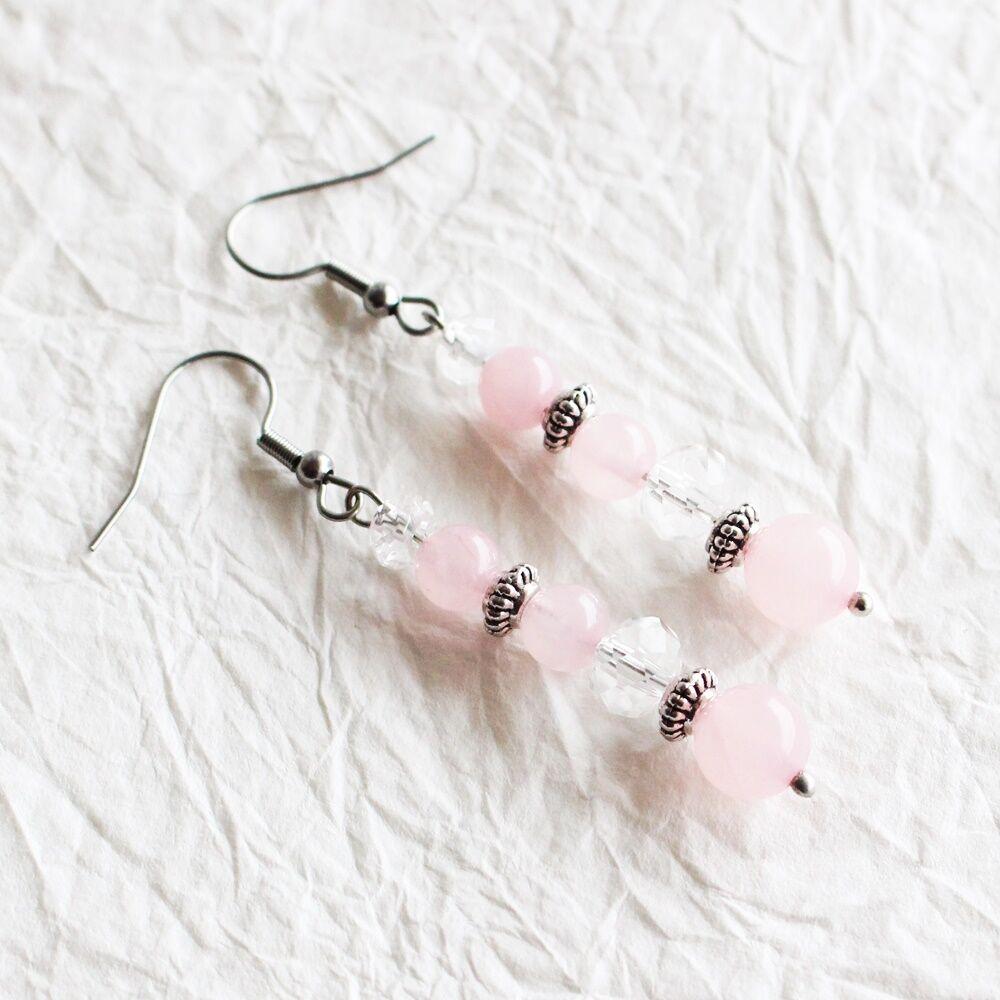 Hegyikristály és rózsakvarc fülbevaló