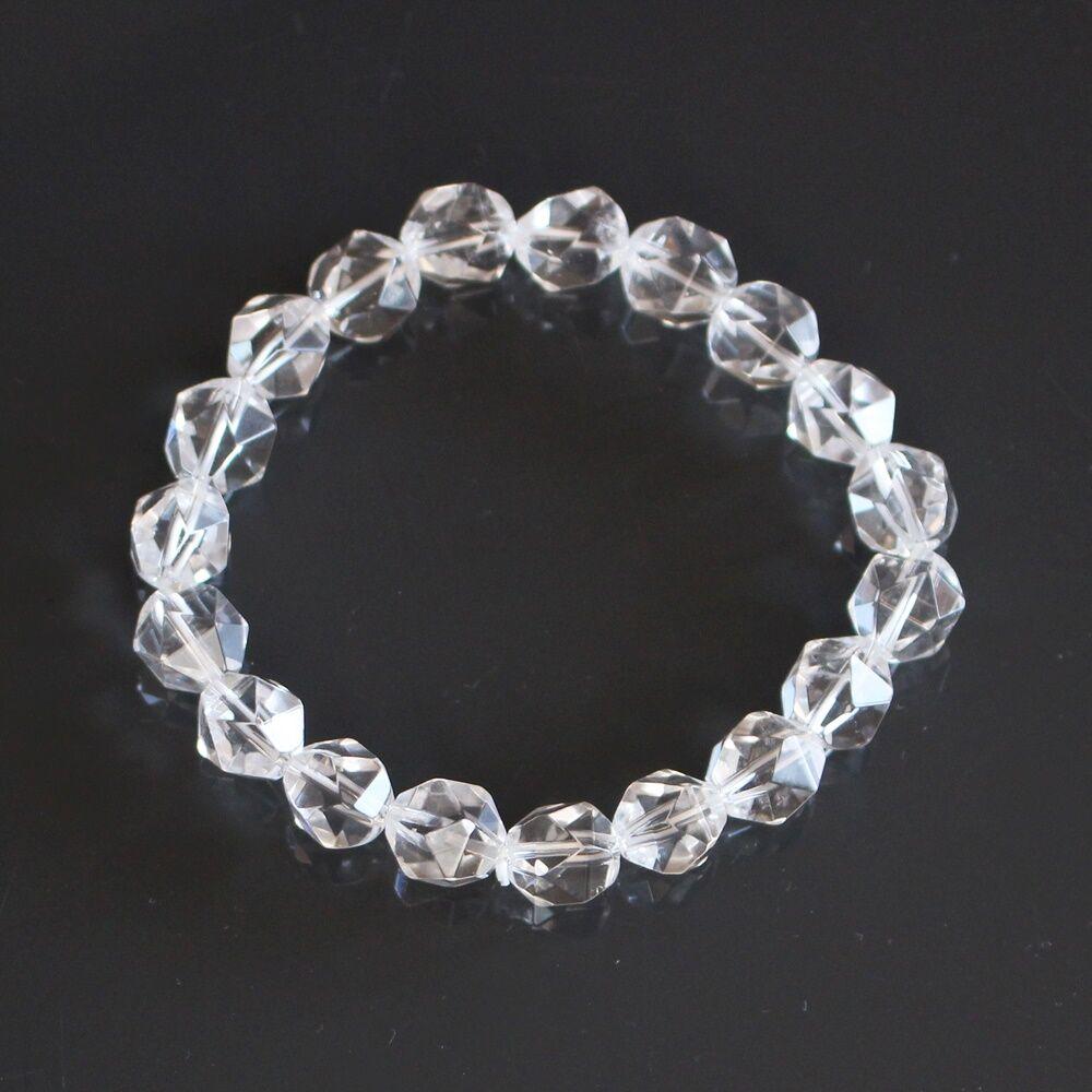 Hegyikristály gyöngy karkötő - fazettált