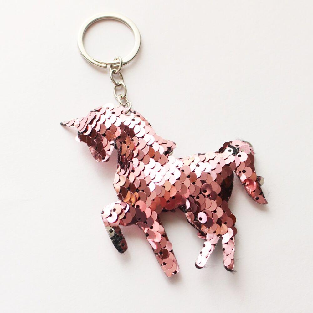Unikornis kulcstartó táskadísz - flitteres rózsaszín