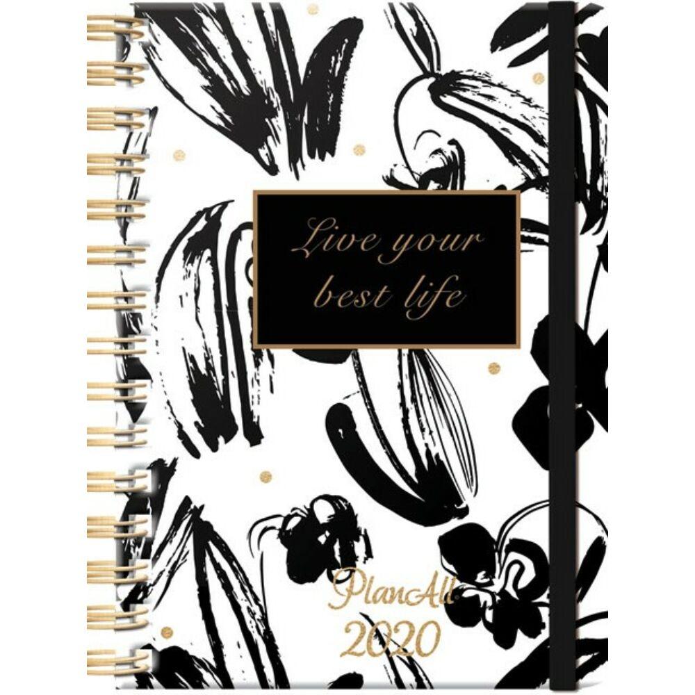 PlanAll heti tervező naptár - fekete-fehér virágos