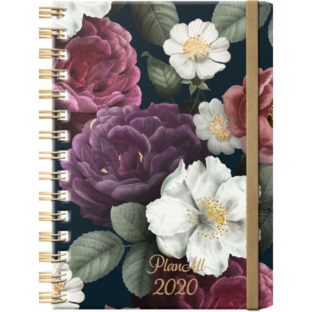 PlanAll heti tervező naptár - fekete virágos