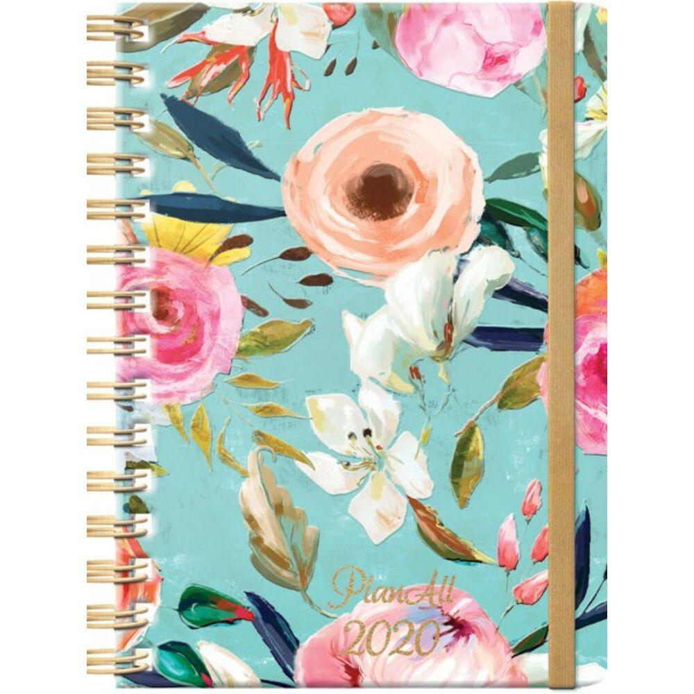 PlanAll heti tervező naptár - menta virágos