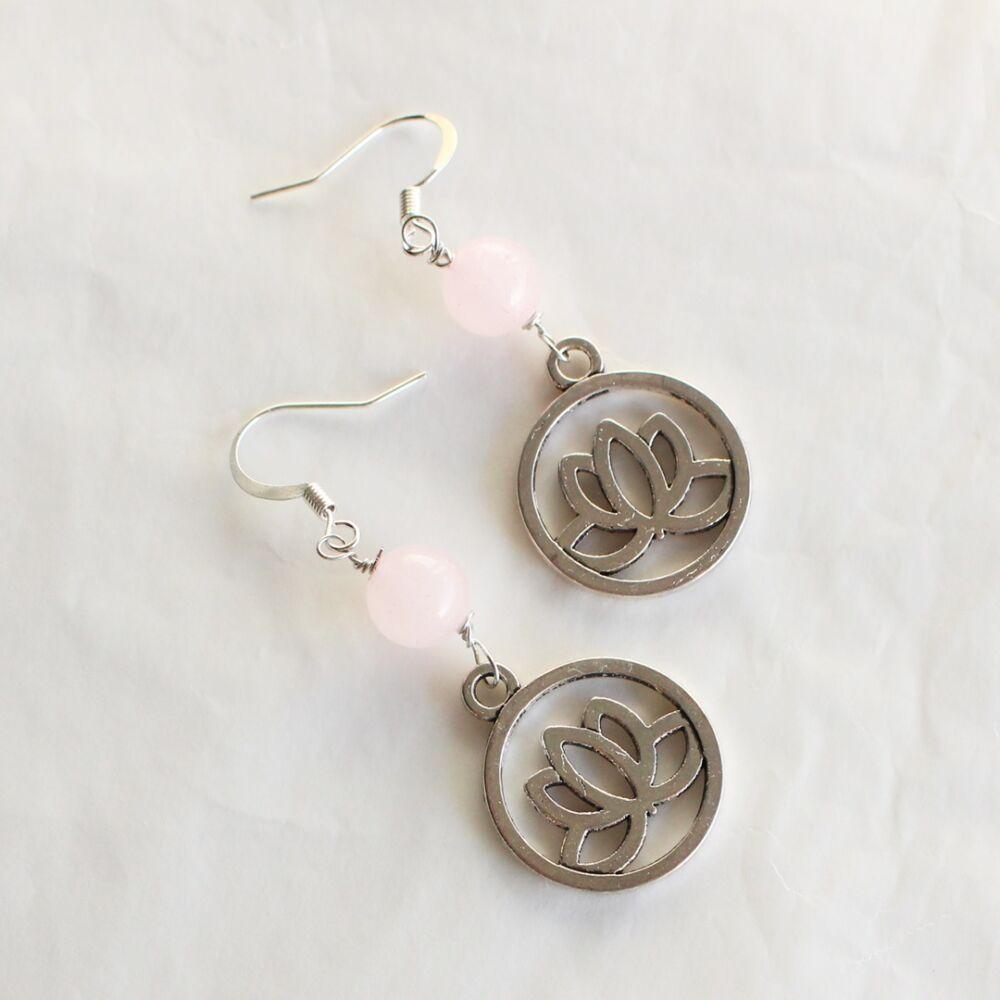 Lótusz fülbevaló - rózsakvarc