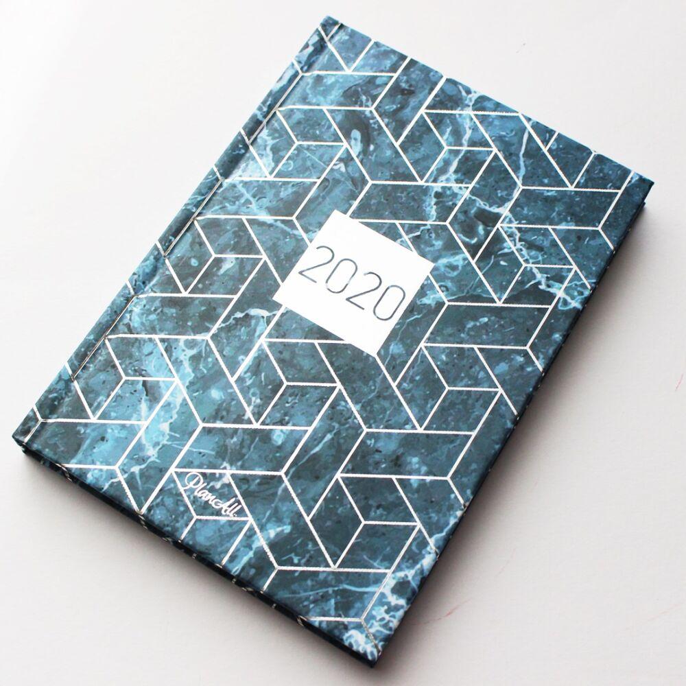 Mini PlanAll heti tervező naptár - kék márványos