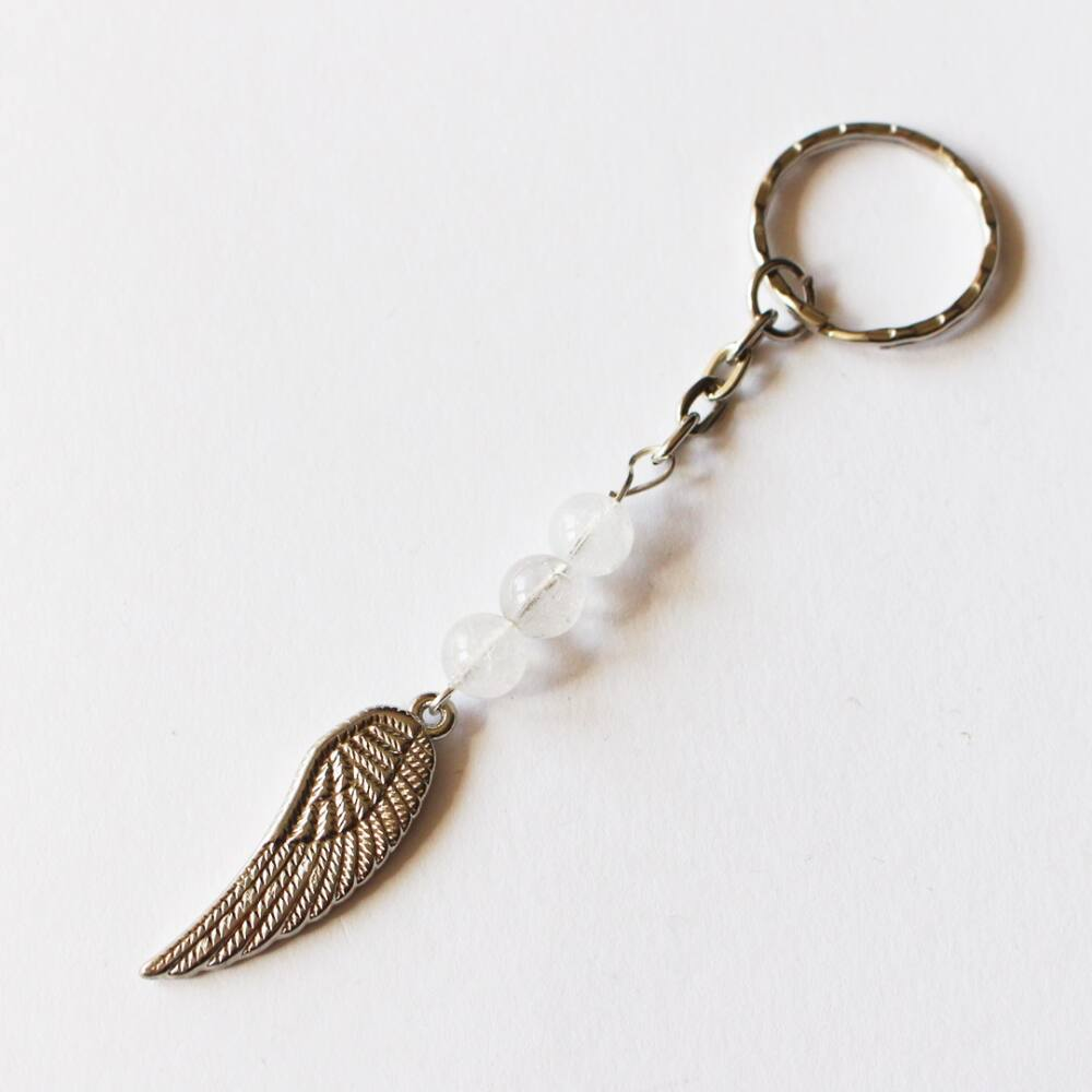 Hegyikristály angyalszárnyas kulcstartó
