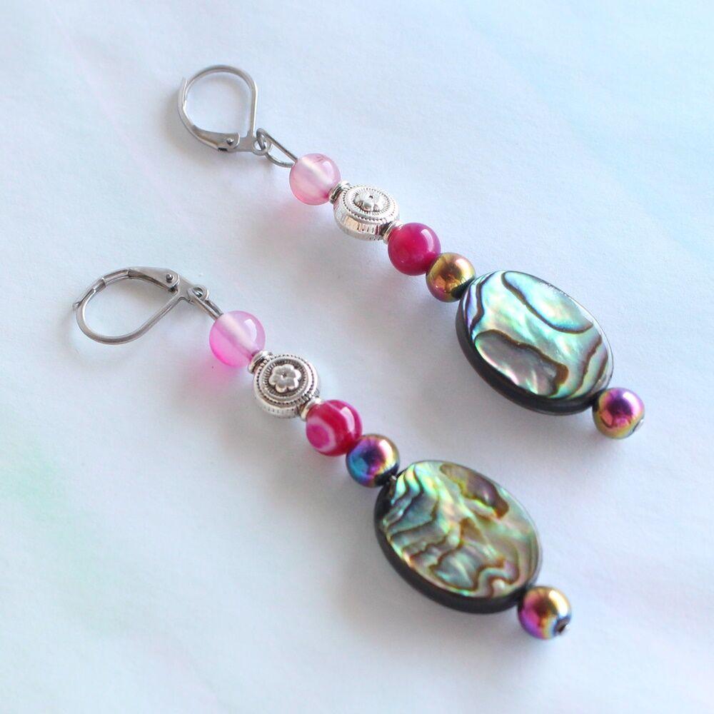 Abalone kagyló fülbevaló - pink achát