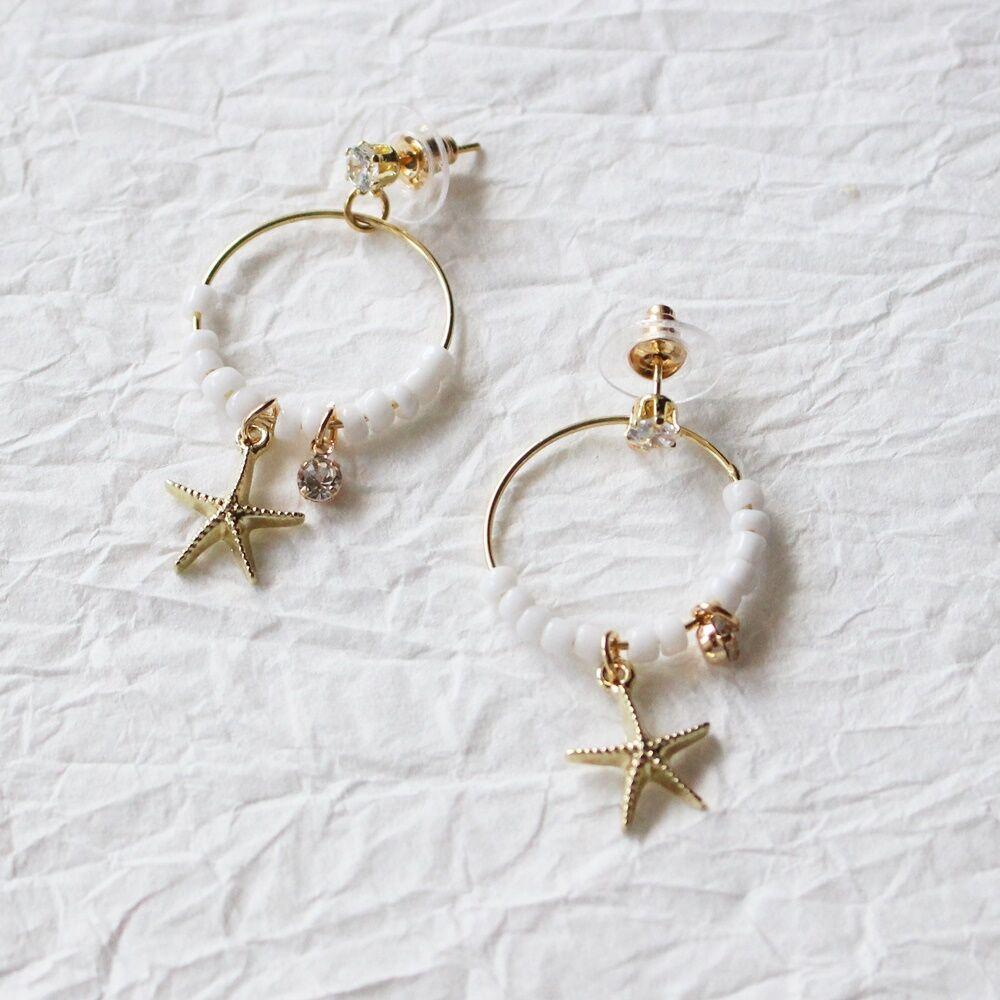 Csillag fülbevaló - fehér