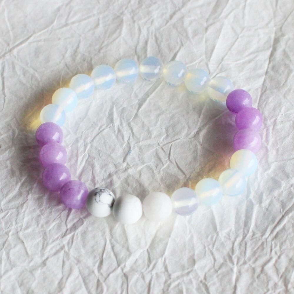 Opalit karkötő lila jádéval