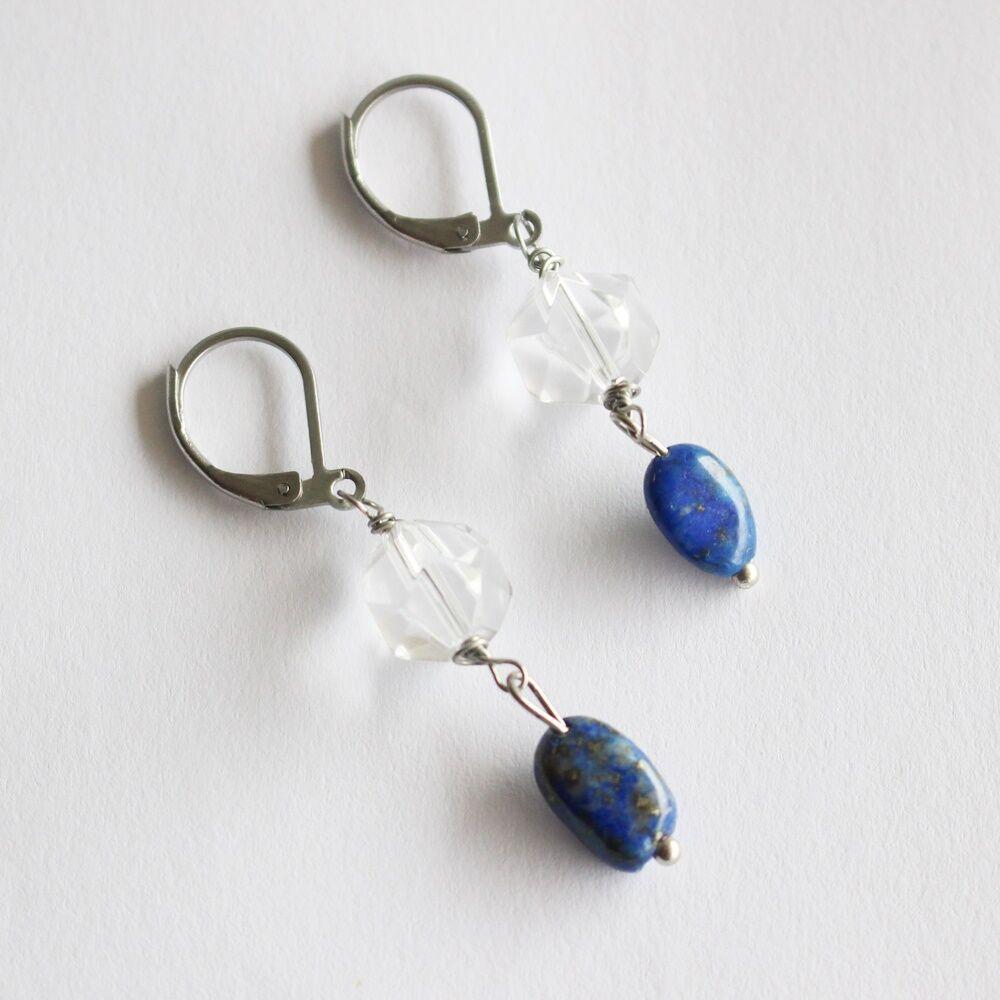 Pebble fülbevaló - hegyikristály lapis lazuli