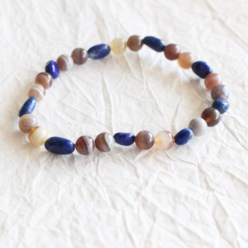 Pebble karkötő - achát lapis lazuli