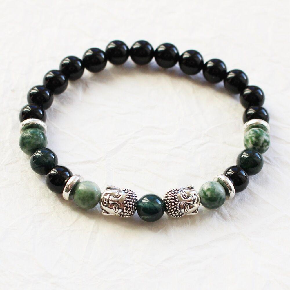 Férfi ásványkarkötő - zöld buddha