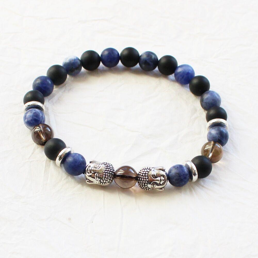 Férfi ásványkarkötő - kék buddha