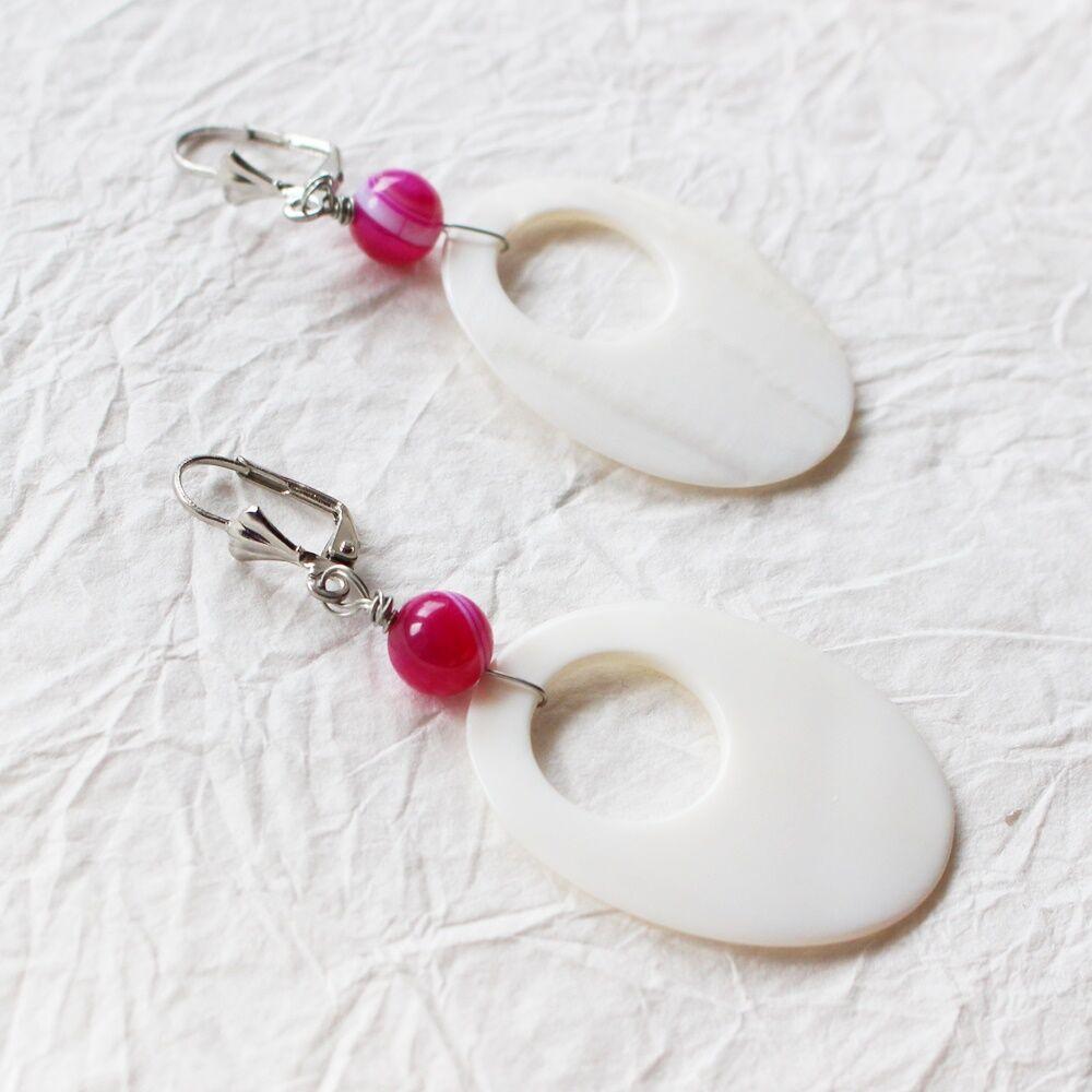 Foam fülbevaló - pink