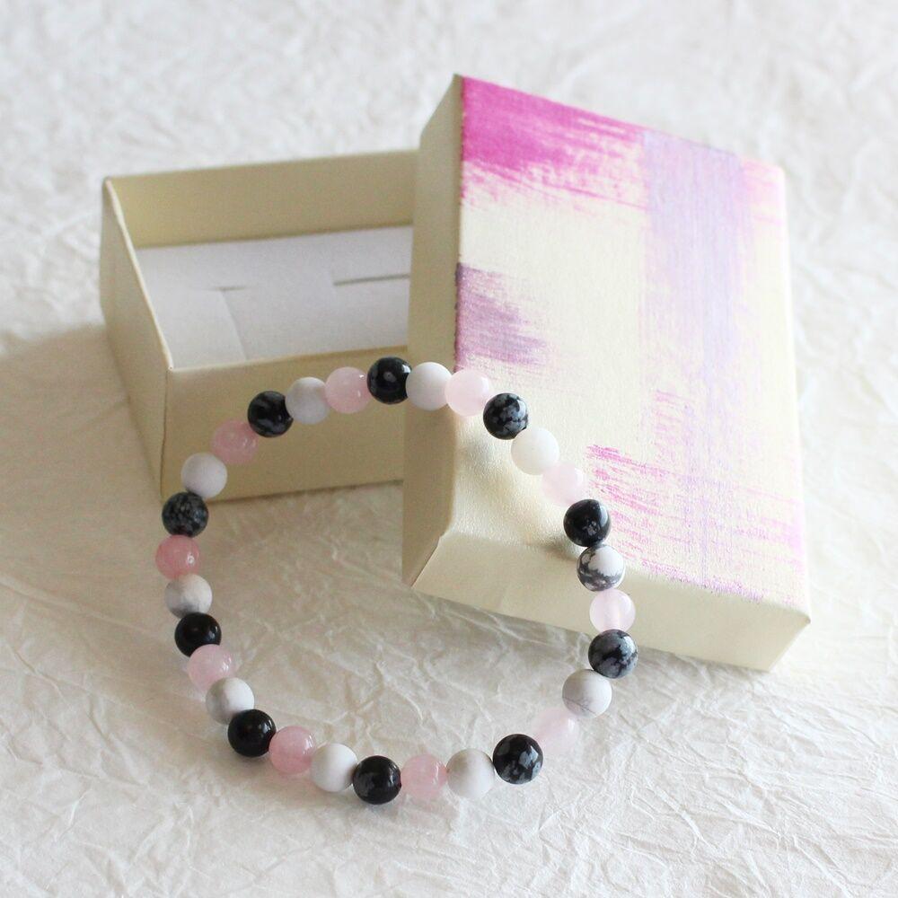 Rózsakvarc, howlit, obszidián ásvány ajándékcsomag