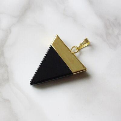 Háromszög alakú onix medál - arany színű foglalattal