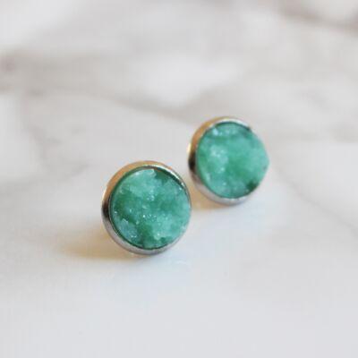 Druzy fülbevaló - zöld