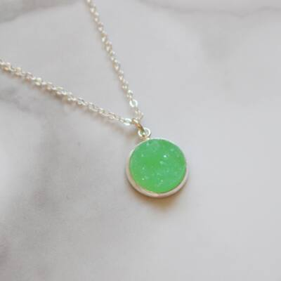 Druzy nyaklánc - zöld