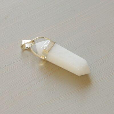 Tejkvarc kristály kétcsúcs medál