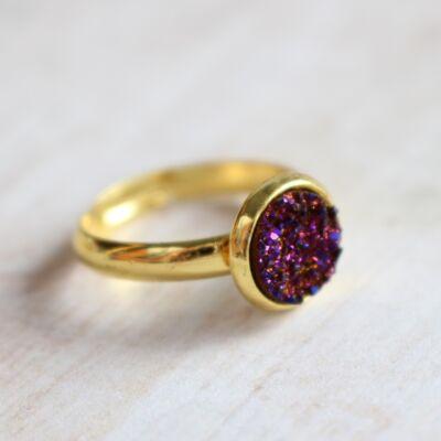 Csiszolatlan pötty gyűrű - lila