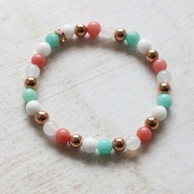 Jade karkötő - rózsaarany, barack, menta, fehér